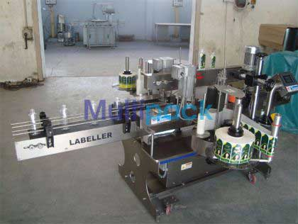 Double Side Sticker Labeling Machine For Shampoo Oval Bottle